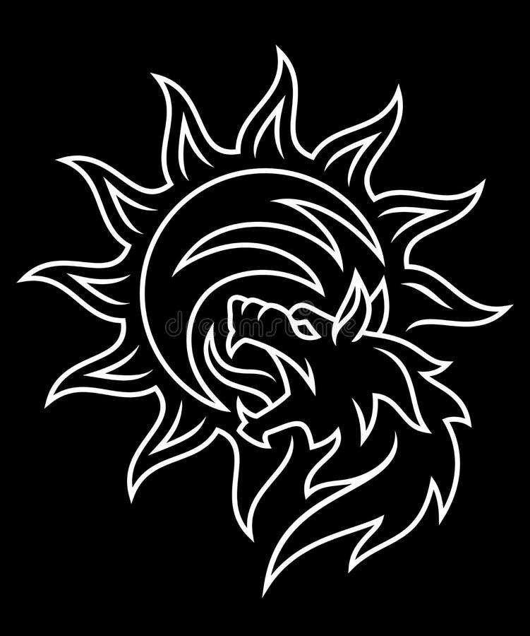Loup dévorant le soleil illustration libre de droits