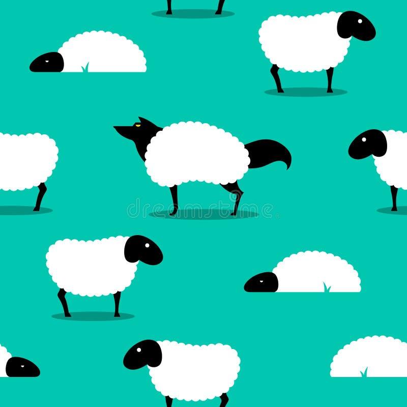 Loup dans Sheeps vêtant l'idiome sans joint de fond illustration libre de droits