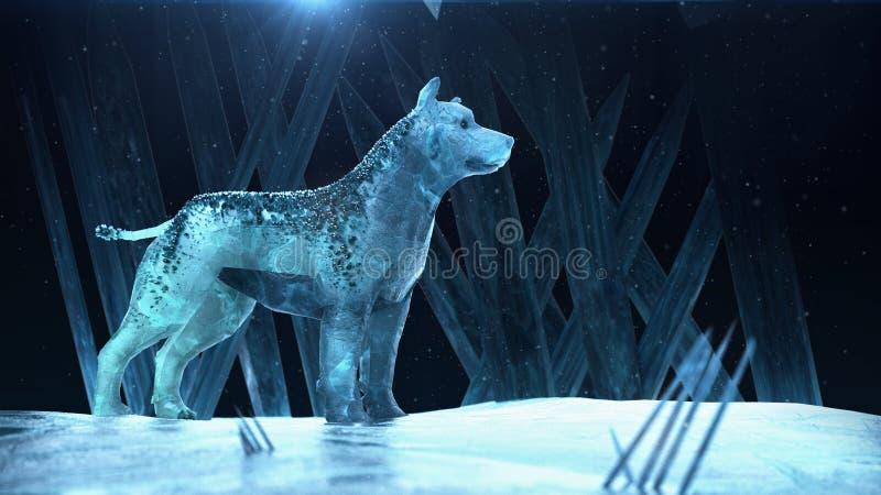 Loup de chien de chasse de glace qualité magique 3d de bête rendre avec le calibre d'affiche d'hiver de partie d'imagination de l illustration stock