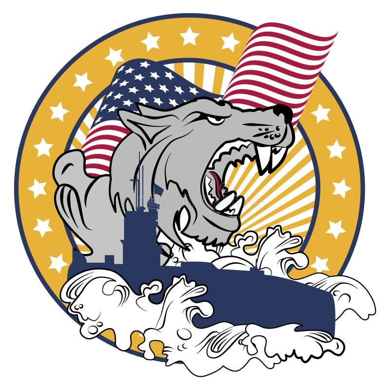Loup de mer - emblème illustration de vecteur