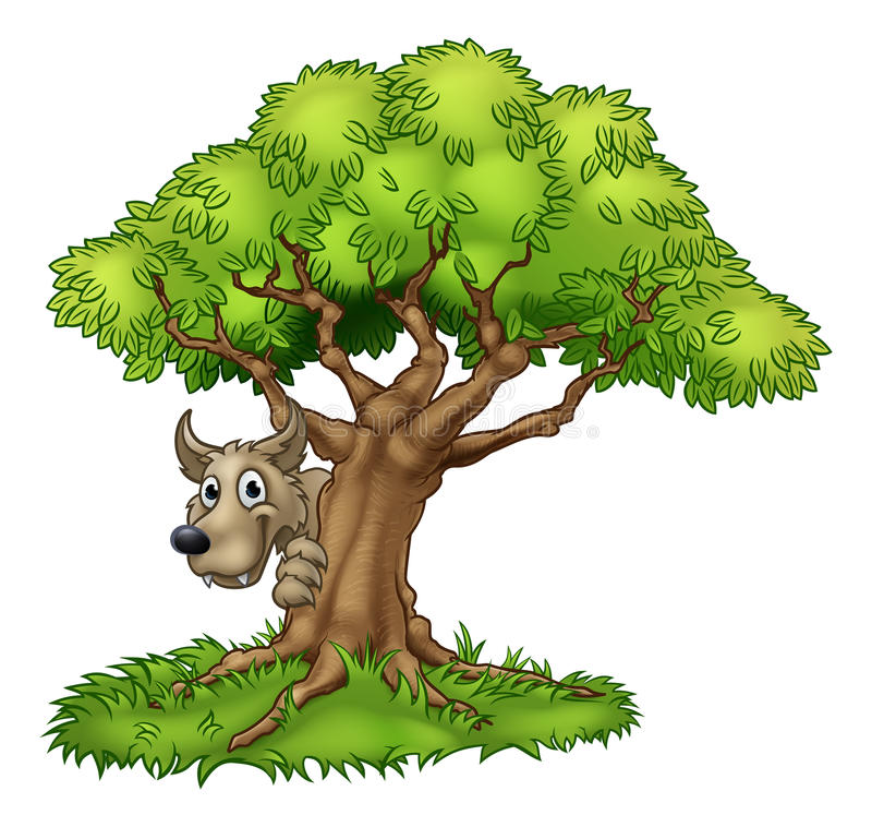 Loup et arbre de conte de fées de bande dessinée grands mauvais illustration de vecteur