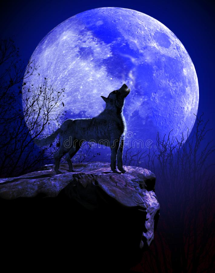 Loup hurlant à la lune bleue illustration de vecteur