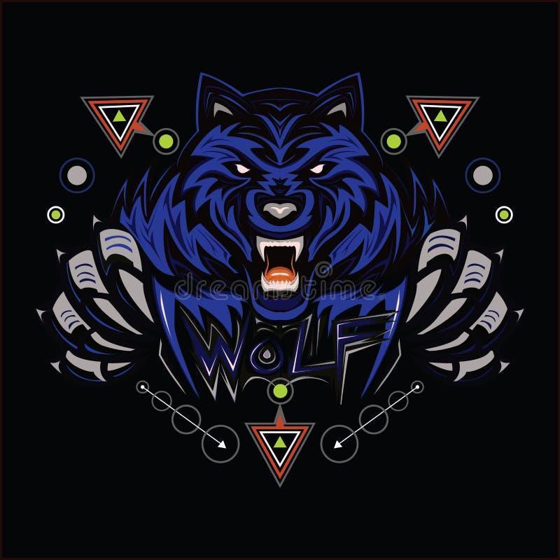 loup L'illustrtion pour la conception de T-shirt illustration stock