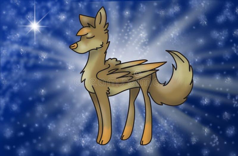 Loup magique avec des ailes en univers illustration stock