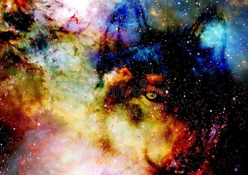 Loup magique de l'espace, collage multicolore d'infographie illustration de vecteur
