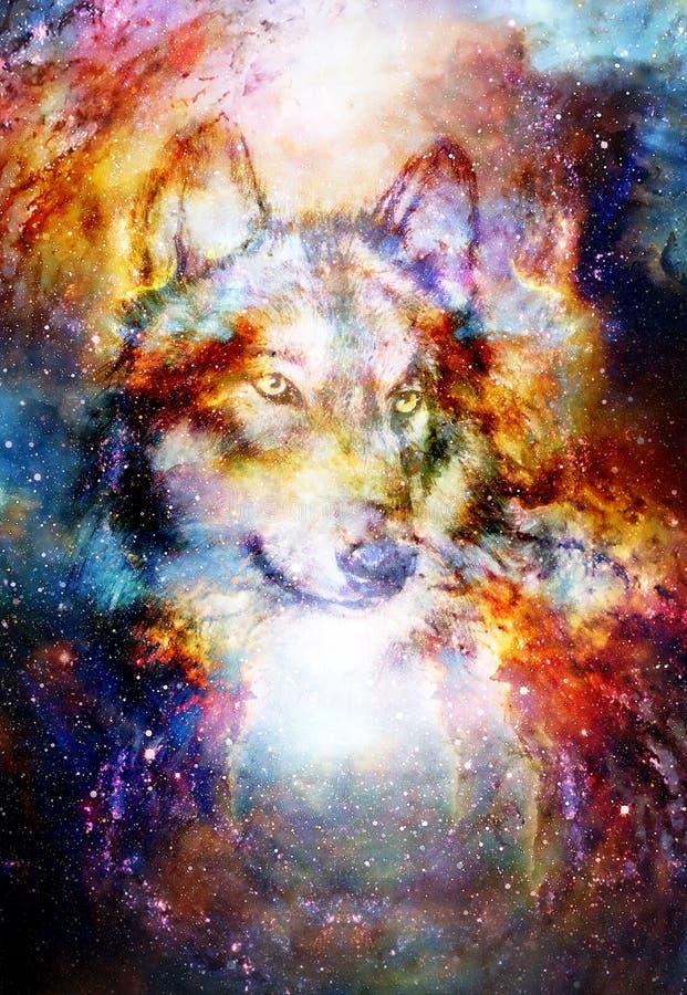 Loup magique de l'espace, collage multicolore d'infographie illustration libre de droits