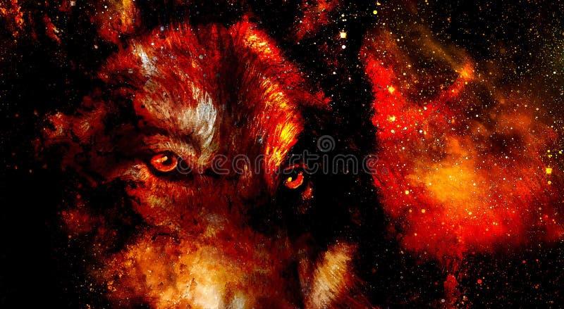 Loup magique de l'espace, collage multicolore d'infographie Le feu de l'espace illustration de vecteur