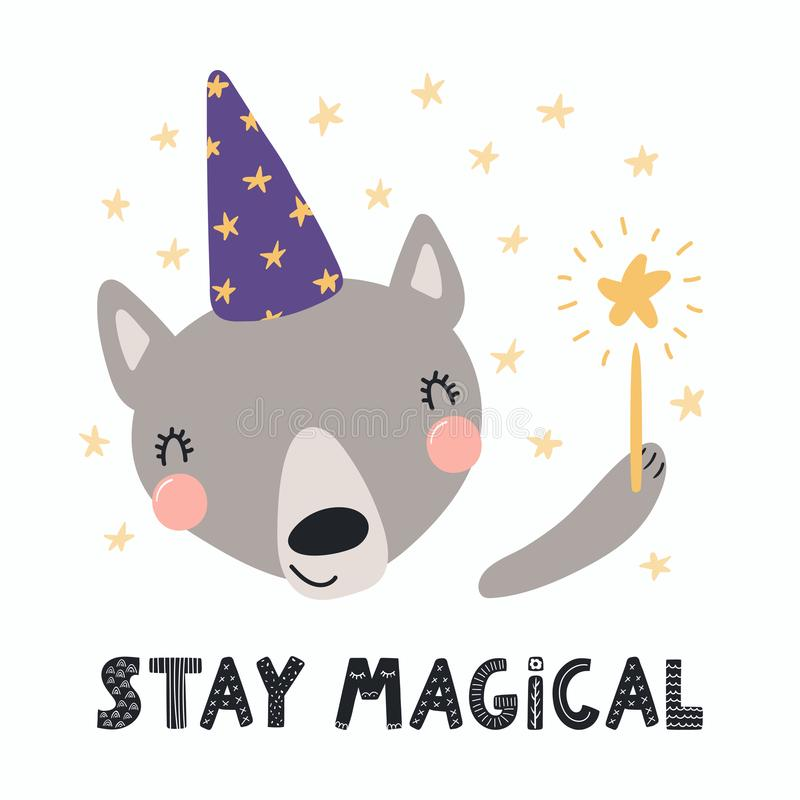 Loup mignon de magicien illustration libre de droits