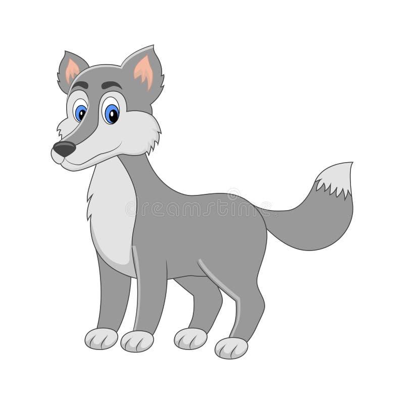 Loup mignon de vecteur de bande dessinée Animal arctique D'isolement sur le dos de blanc illustration de vecteur