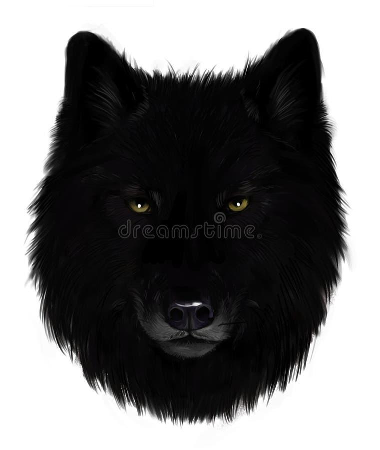 Loup noir illustration de vecteur