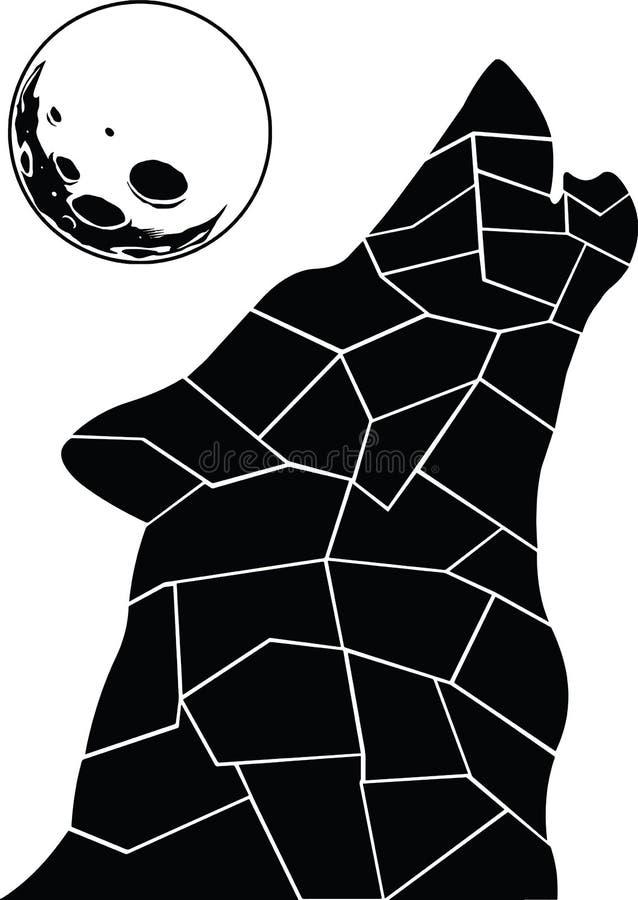 Loup noir et blanc à la pleine lune illustration libre de droits