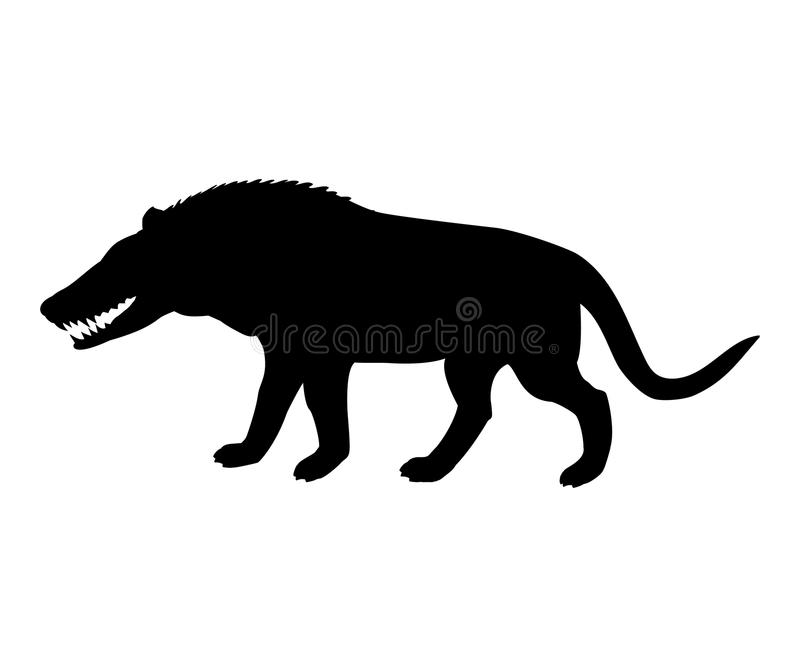 Loup préhistorique éteint m de silhouette de mongoliensis d'Andrewsarchus illustration stock