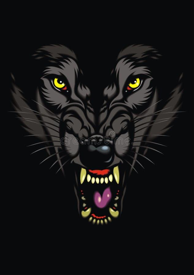 Loup sauvage dans l'obscurité illustration libre de droits