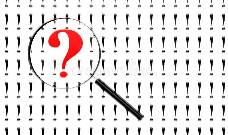 loupe αντικείμενο σημαδιών πέρα από το λευκό ερώτησης απεικόνιση αποθεμάτων