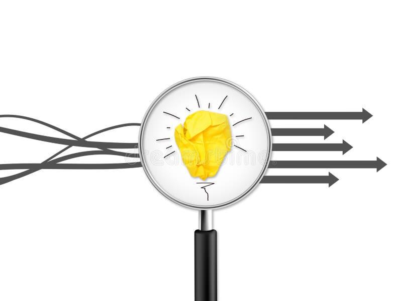 Loupe avec l'ampoule de papier chiffonnée avec la métaphore d'étiquettes de question pour la bonne idée images libres de droits