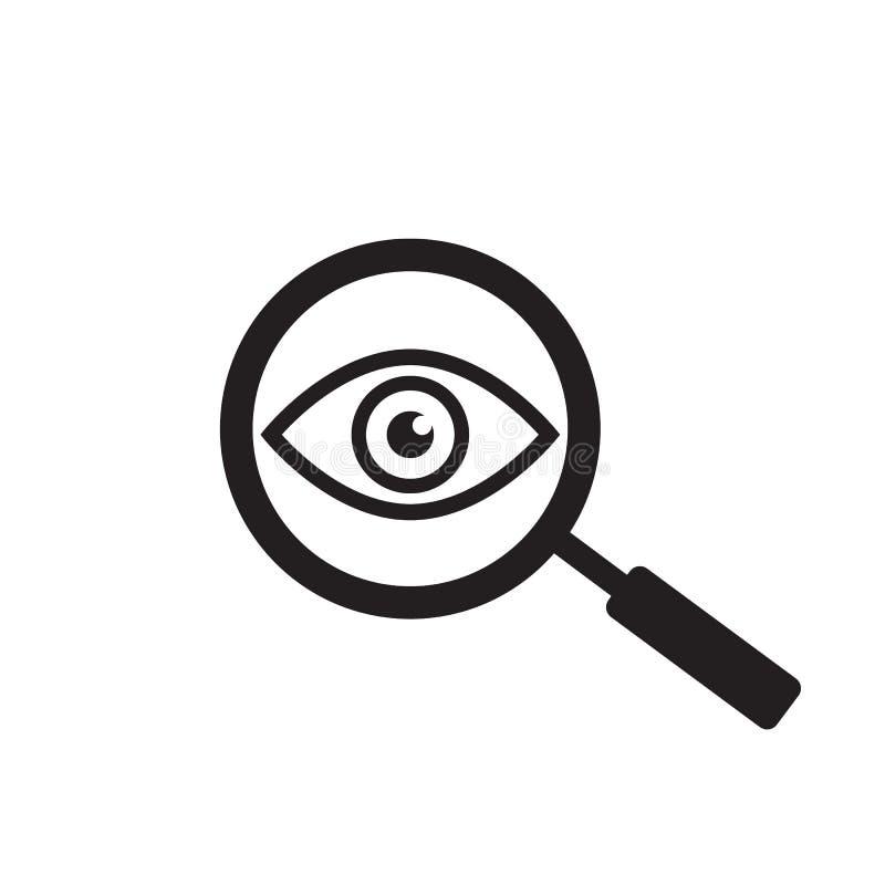 Loupe avec l'ic?ne d'ensemble d'oeil Trouvez l'ic?ne, ?tudiez le symbole de concept Oeil avec la loupe Aspect, aspect illustration de vecteur