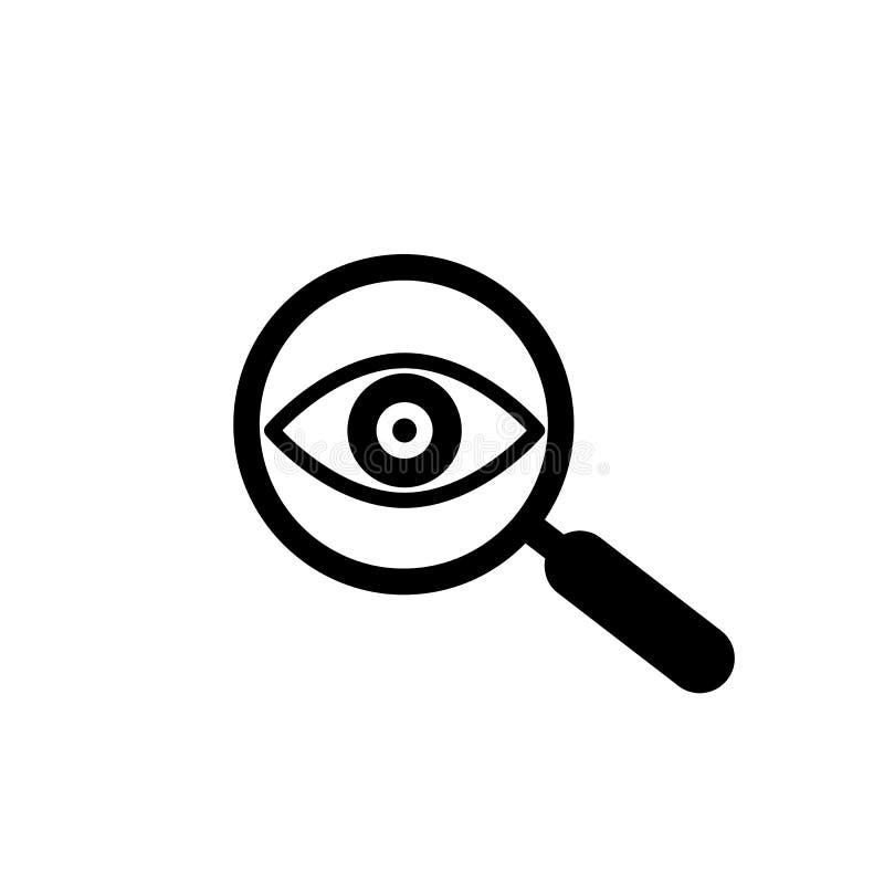Loupe avec l'ic?ne d'ensemble d'oeil Trouvez l'ic?ne, ?tudiez le symbole de concept Oeil avec la loupe Aspect, aspect, regard, vu illustration libre de droits
