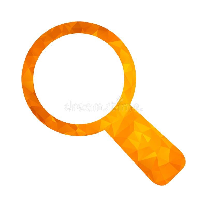 Loupe d'or d'icône de polygone illustration de vecteur