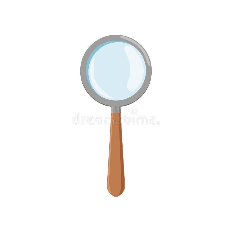 Loupe de bande dessinée avec le cadre gris et la poignée en bois brune Icône de loupe L'outil d'archéologie utilisé pour agrandis illustration stock