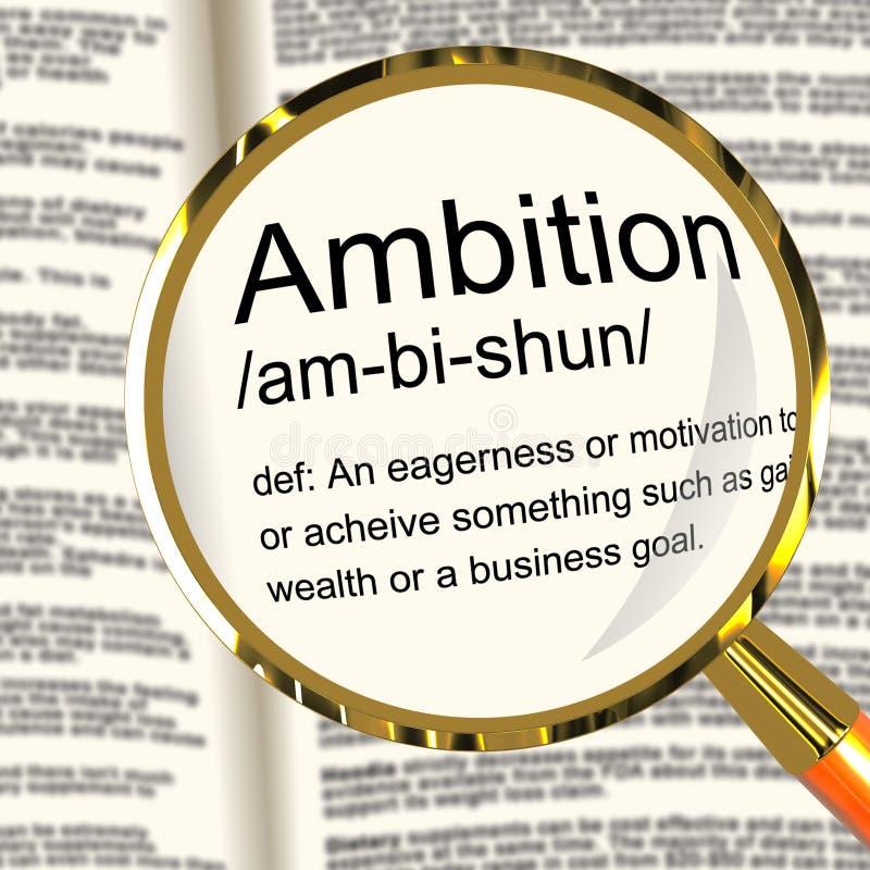 Loupe de définition d'ambition montrant la motivation d'aspirations et illustration de vecteur