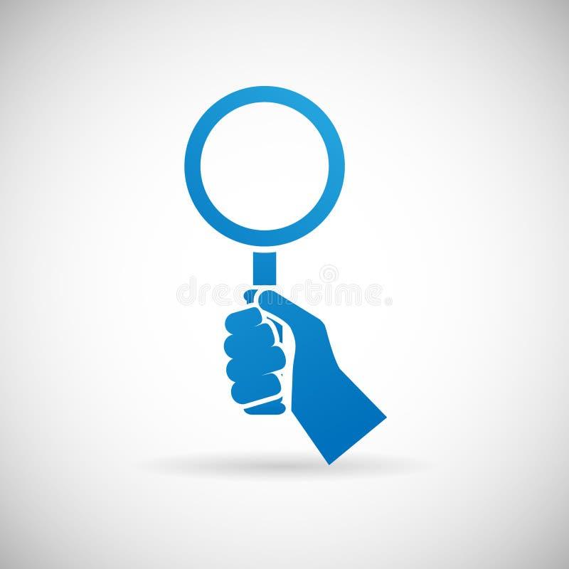 Loupe de prise de main de symbole de recherche illustration libre de droits