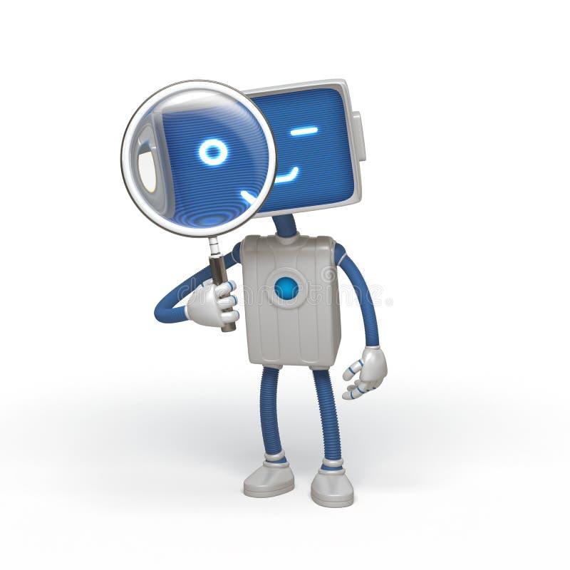 Loupe drôle de fixation de robot illustration stock