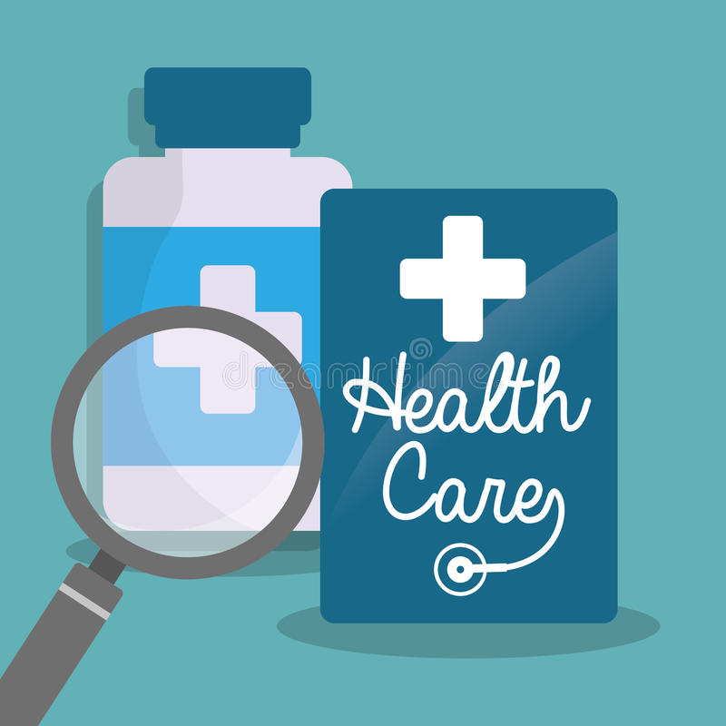 loupe för hälsovårdflaskmedicin royaltyfri illustrationer