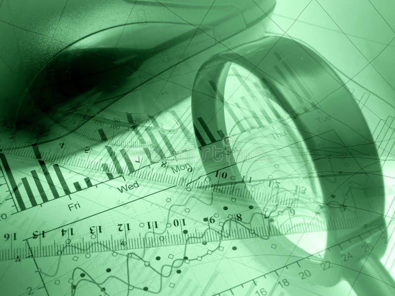 Loupe, grille de tabulation et souris (vert) image libre de droits