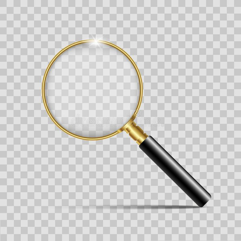 Loupe réaliste d'or sur le fond transparent Vecteur illustration libre de droits