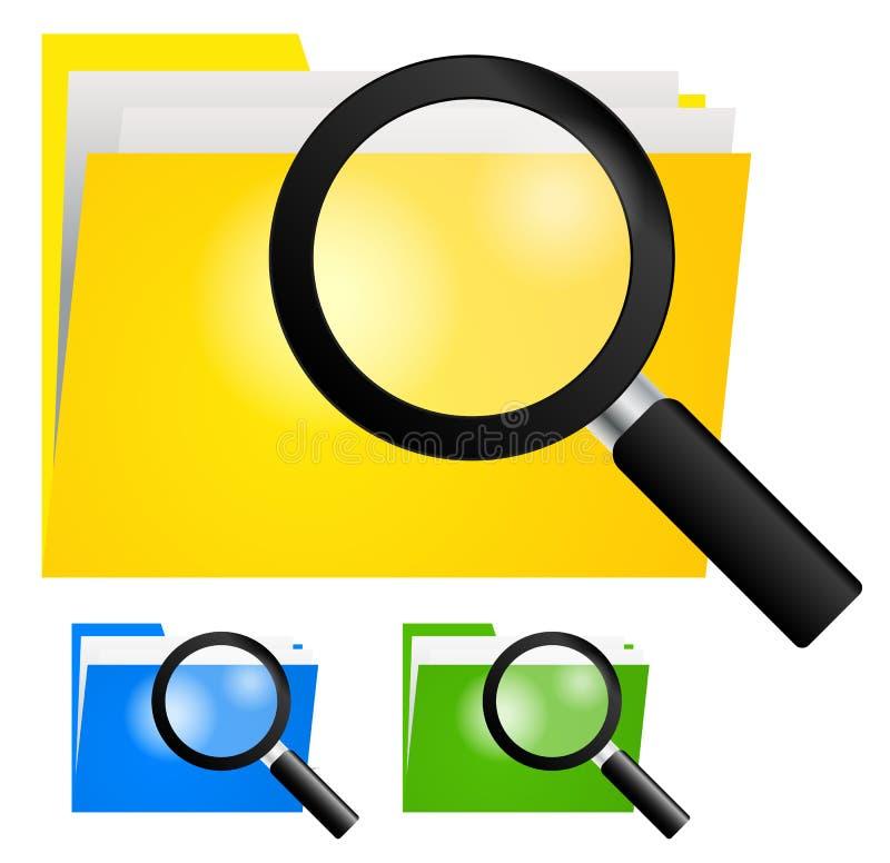 Loupe, recherchant l'icône de dossier sur des dossiers de couleur jaune, bleue et verte illustration libre de droits