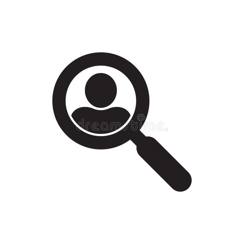 Loupe recherchant l'ic?ne de personnes, concept de symbole de recherche des employ?s, recrutant des cadres, s?lection de personne illustration libre de droits