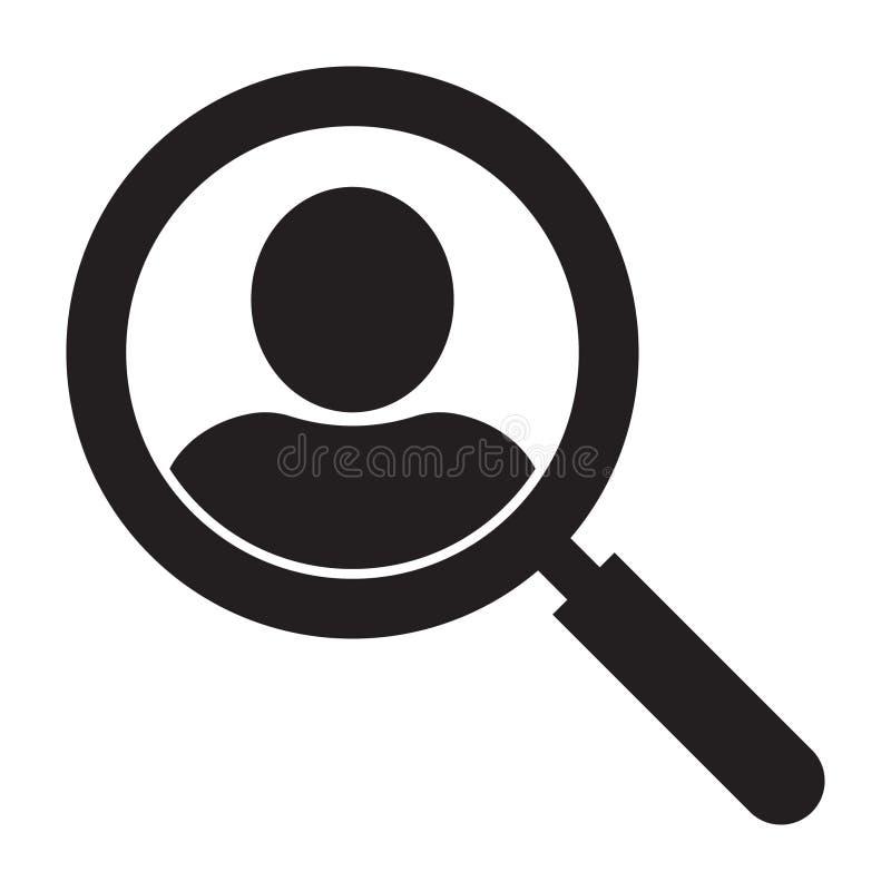 Loupe recherchant l'ic?ne de personnes, concept de symbole de recherche des employ?s, recrutant des cadres, s?lection de personne illustration de vecteur