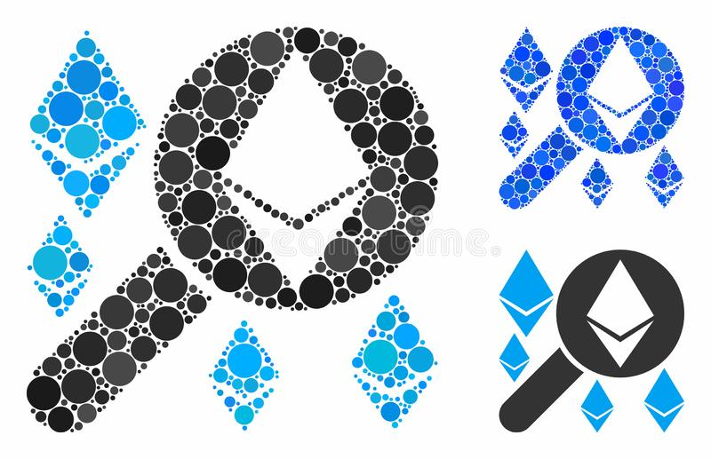 Loupe search Ethereum Composition Icon of Circles. Loupe search Ethereum composition of round dots in various sizes and color tinges, based on loupe search vector illustration