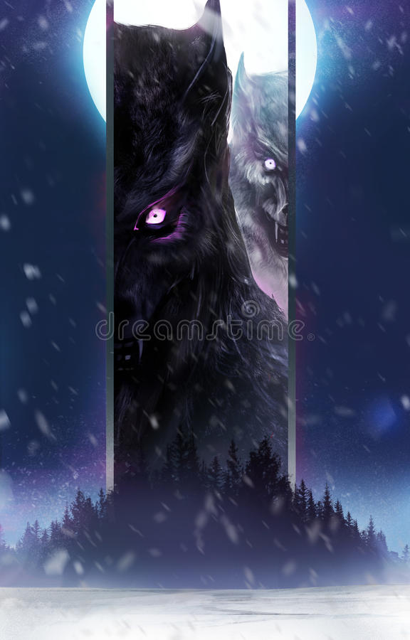 Loups-garou wanching illustration libre de droits