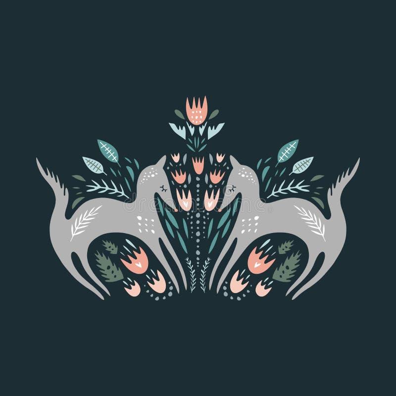 Loups mignons de bande dessinée Composition avec des animaux d'art populaire et des éléments floraux de décor Vecteur tiré par la illustration de vecteur
