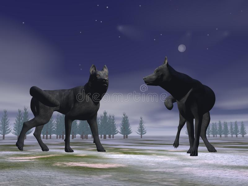 Loups par nuit - 3D rendent illustration libre de droits