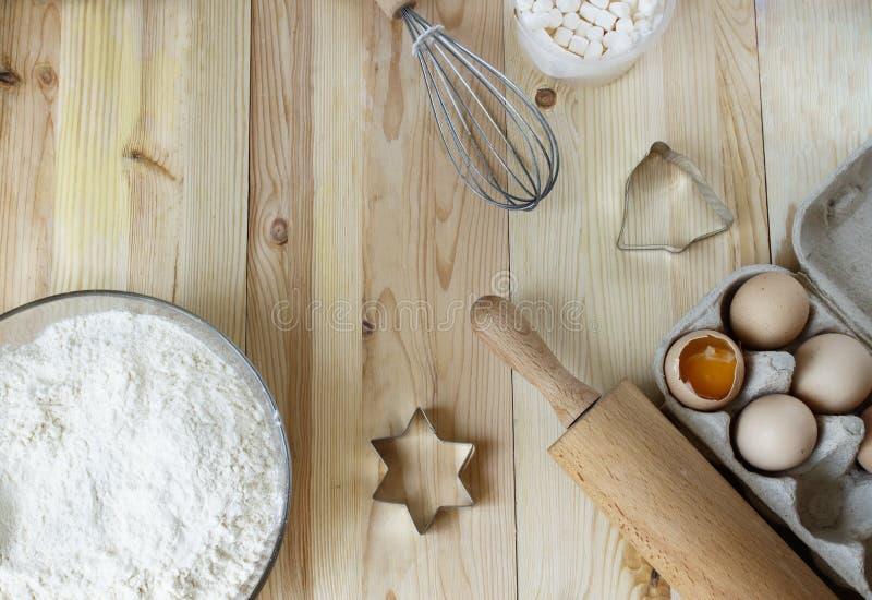Lour, eieren, allen voor smakelijke koekjes hobby Het koken, Kerstmis stock fotografie