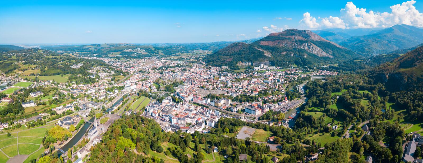 Lourdes small town in France stock image