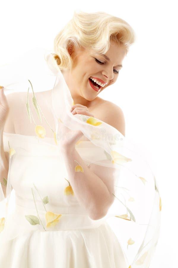 Louro alegre no estilo retro fotografia de stock royalty free
