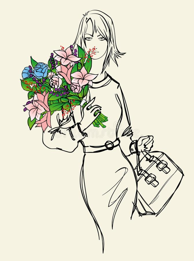 Louro bonito Esboço da menina da forma com um ramalhete ilustração royalty free