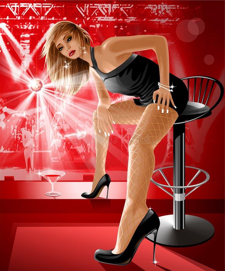 Louro bonito no clube de noite ilustração stock