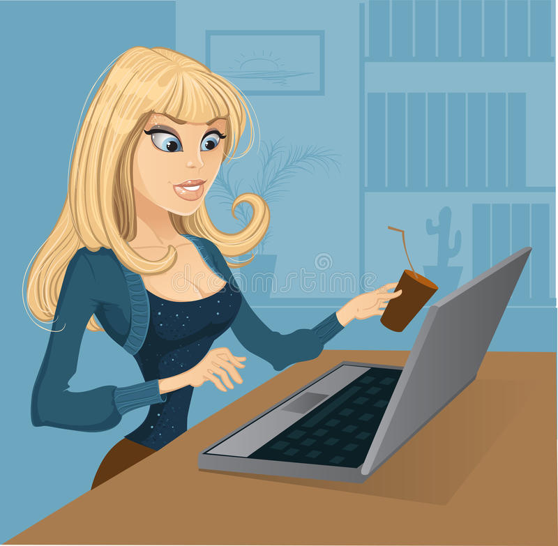Louro com café e computador ilustração royalty free