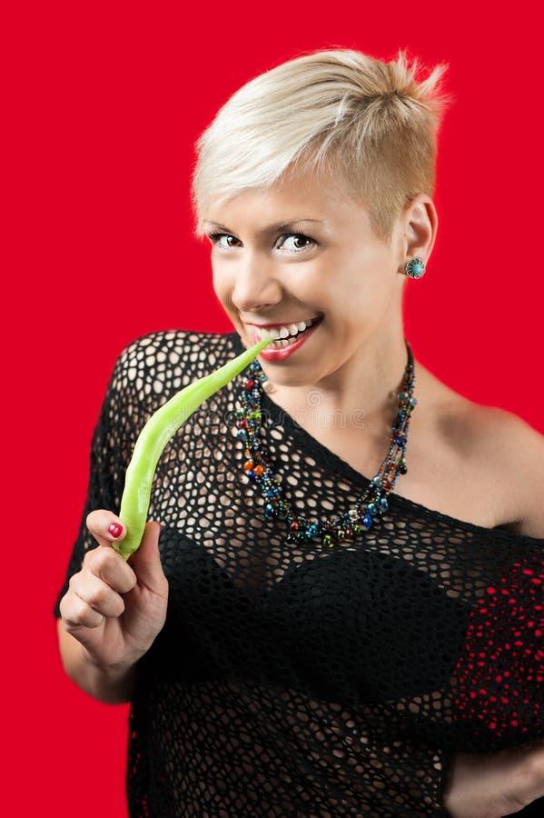 Louro com pimenta verde foto de stock