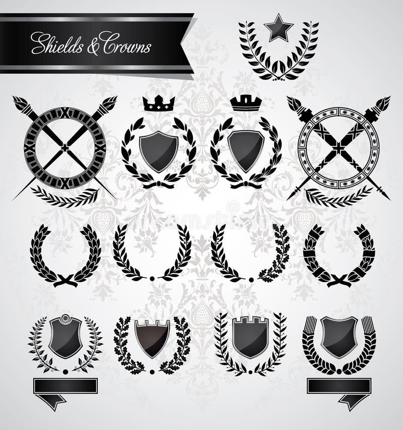 Louro, coroas e protetores do vintage ilustração do vetor