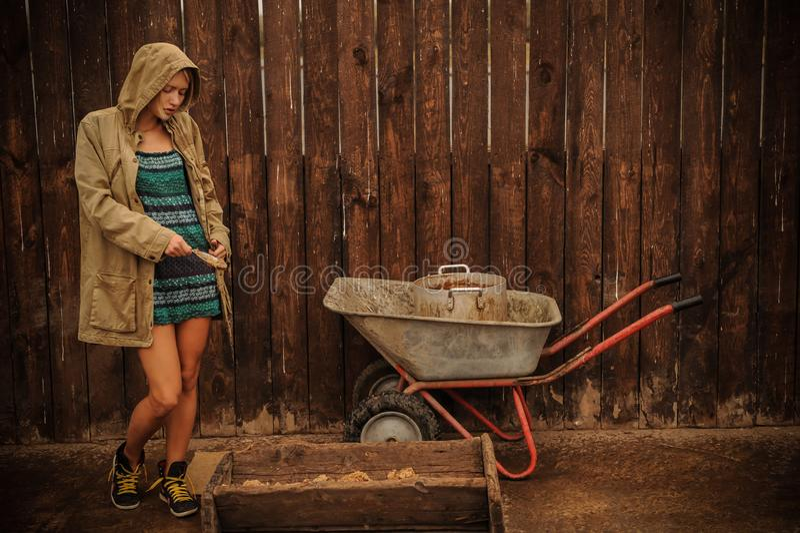 Louro da beleza do russo com os olhos azuis que trabalham na exploração agrícola O conceito da beleza do russo foto de stock royalty free