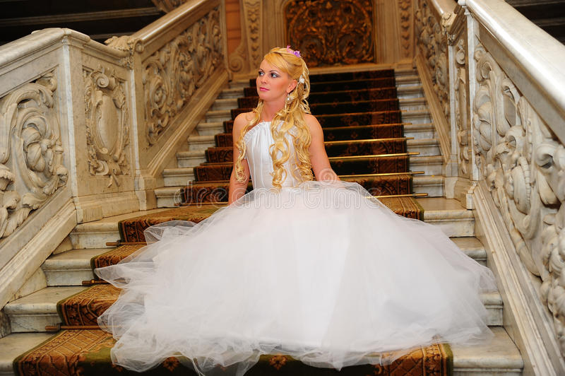 Louro encantador da noiva fotos de stock royalty free