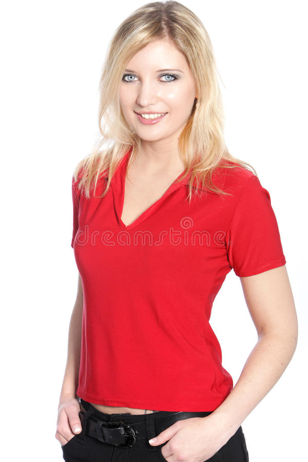 Louro no t-shirt vermelho fotos de stock