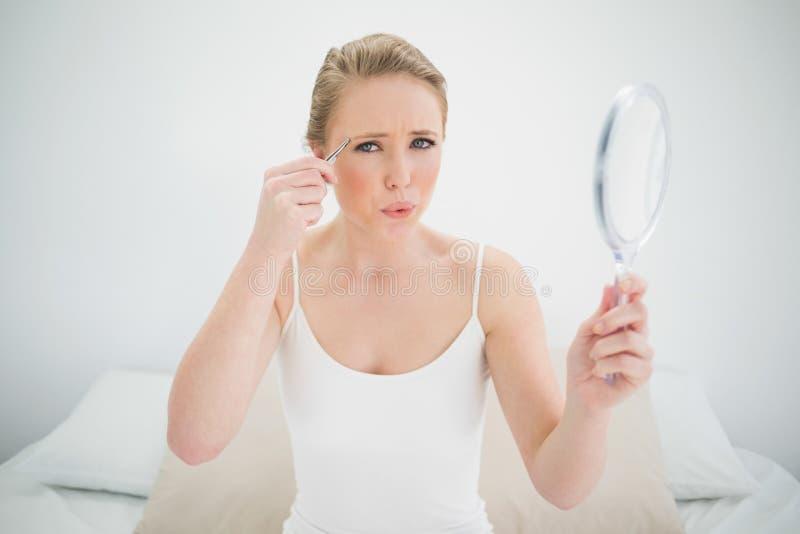 Louro olhando de sobrancelhas franzidas natural que guarda o espelho e que usa a pinça fotos de stock