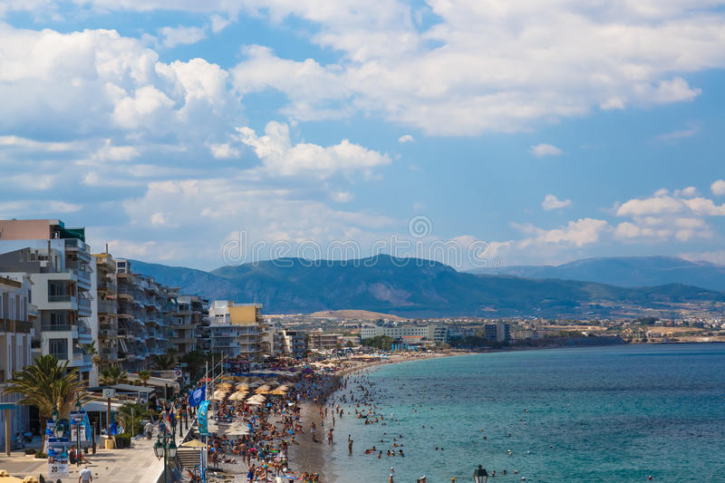 LOUTRAKI, GREECE - 29 JUNE, 2016: Embankment in Loutraki.. Loutraki - resort city, which is well known in Greece because. Of its mineral springs royalty free stock photography
