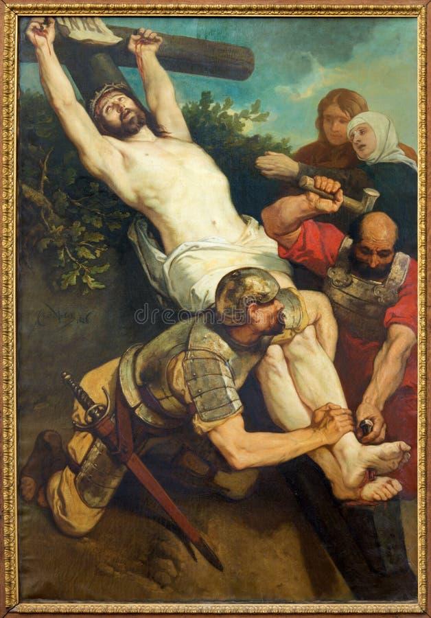 Louvain - peinture de crucifixion d'église de St Michaels (Michelskerk) photographie stock libre de droits